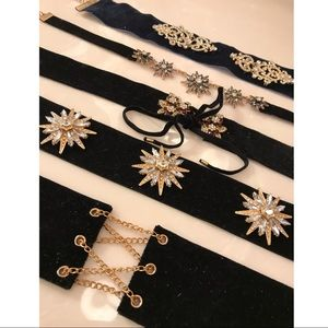 5 chokers w gems / ties / chains / flower designs
